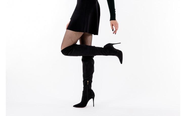 Kozaki bayla-067 130307 nobuck strech black, czarny, skóra ekologiczna  - z elastyczną cholewką / stretch - kozaki - buty damskie - kobieta 8