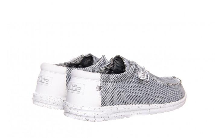 Półbuty heydude wally sox bright white 003184, biały/ czarny, materiał  - nowości 3