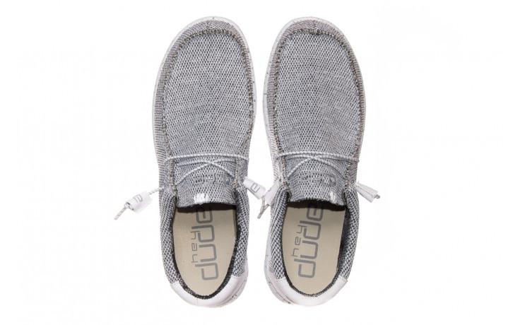 Półbuty heydude wally sox bright white 003184, biały/ czarny, materiał  - nowości 4