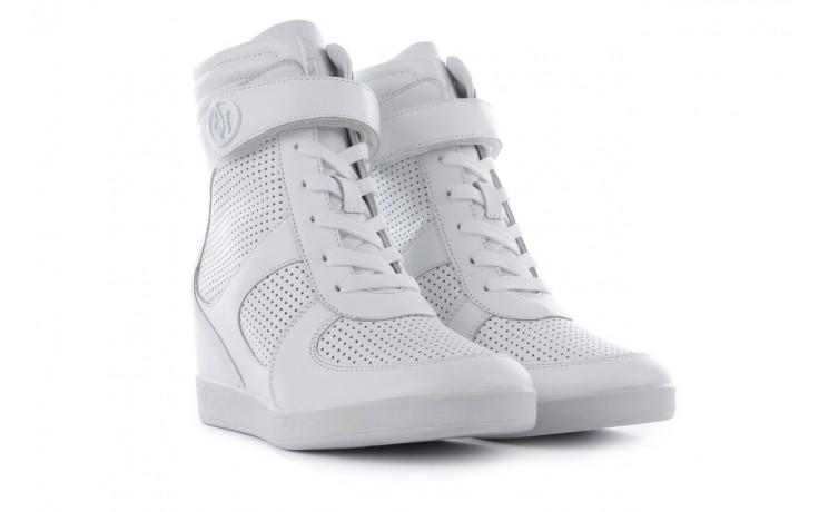 Sneakersy armani jeans a55c5 74 white, biały, skóra naturalna - armani jeans - nasze marki
