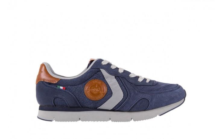 Sneakersy aviazione navale an104 blue, granat, skóra naturalna