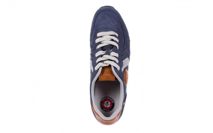 Sneakersy aviazione navale an104 blue, granat, skóra naturalna 4