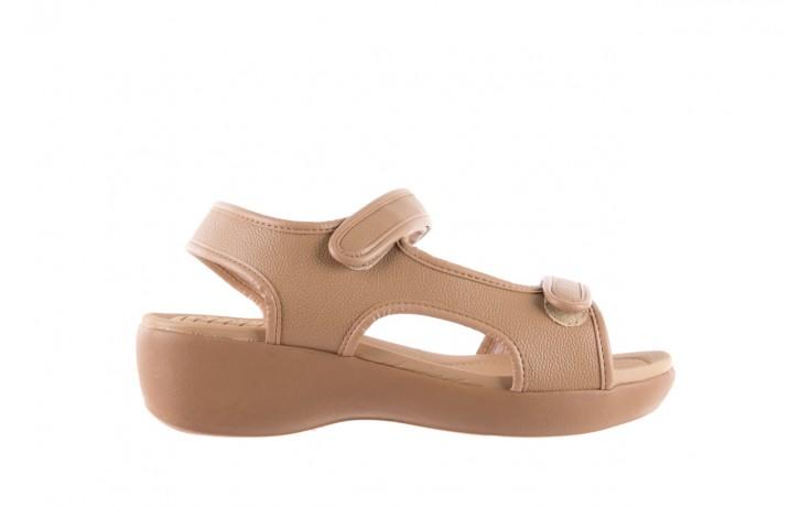 Sandały azaleia 346 602 napa beige, beż, materiał - na koturnie - sandały - buty damskie - kobieta