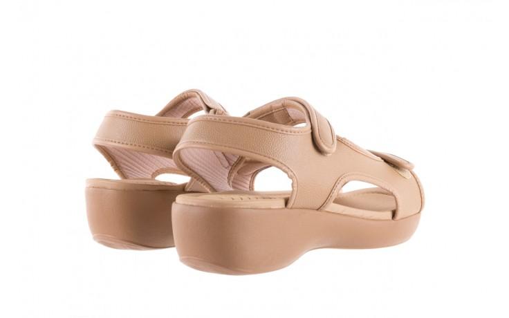 Sandały azaleia 346 602 napa beige, beż, materiał - na koturnie - sandały - buty damskie - kobieta 3