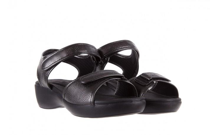 Sandały azaleia 346 601 perf black, czarny, materiał 1