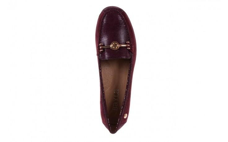 Mokasyny bayla-018 1647-20 dark burgundy, bordo, skóra naturalna  - bayla - nasze marki 4
