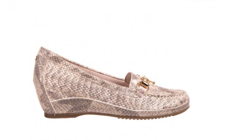 Mokasyny bayla-018 1647-29 lt. nude pewter 018523, beż/szary, skóra naturalna  - na koturnie - półbuty - buty damskie - kobieta