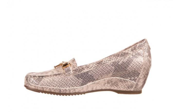 Mokasyny bayla-018 1647-29 lt. nude pewter 018523, beż/szary, skóra naturalna  - na koturnie - półbuty - buty damskie - kobieta 2