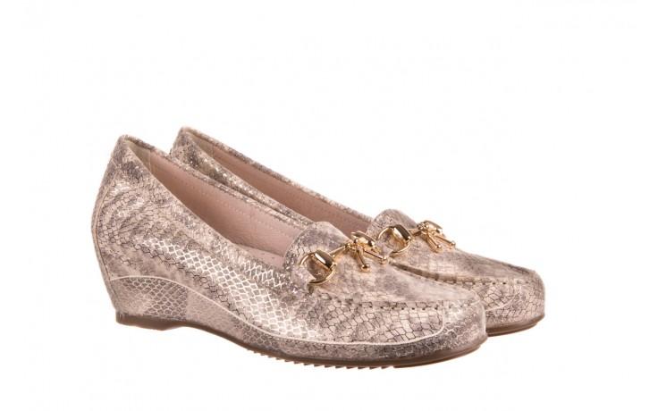 Mokasyny bayla-018 1647-29 lt. nude pewter 018523, beż/szary, skóra naturalna  - na koturnie - półbuty - buty damskie - kobieta 1