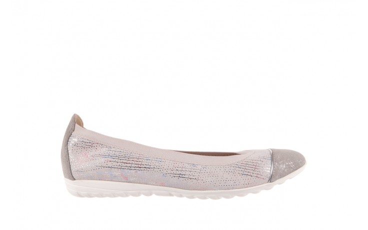 Baleriny bayla-018 1831-5 lt. grey off white silver 018534, biały/szary, skóra naturalna  - skórzane - baleriny - buty damskie - kobieta