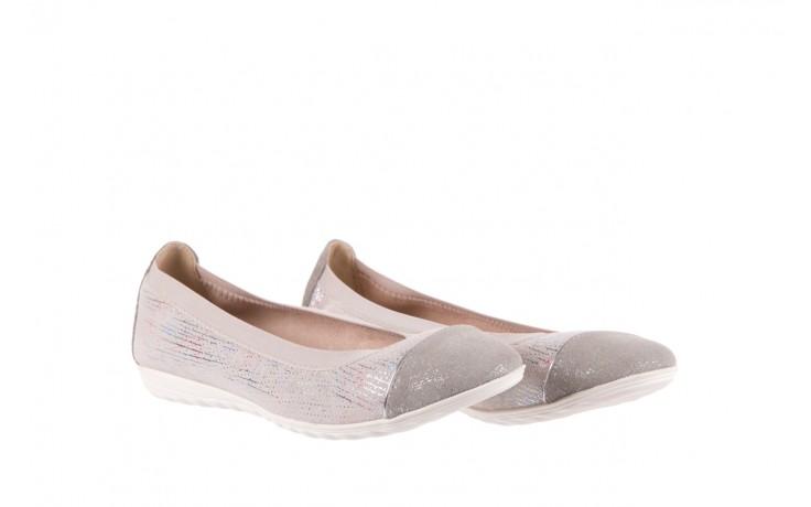 Baleriny bayla-018 1831-5 lt. grey off white silver 018534, biały/szary, skóra naturalna  - hity cenowe 1