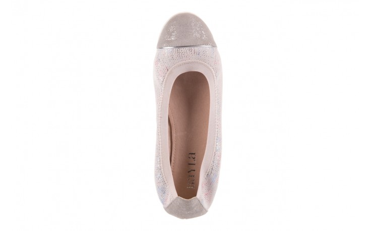 Baleriny bayla-018 1831-5 lt. grey off white silver 018534, biały/szary, skóra naturalna  - skórzane - baleriny - buty damskie - kobieta 4