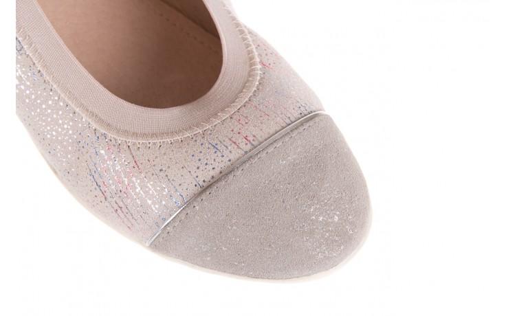 Baleriny bayla-018 1831-5 lt. grey off white silver 018534, biały/szary, skóra naturalna  - skórzane - baleriny - buty damskie - kobieta 5