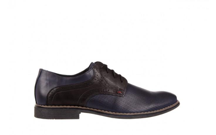 Półbuty bayla-051 166l bufallo niebieski fl. czarny, skóra naturalna  - obuwie wizytowe - buty męskie - mężczyzna