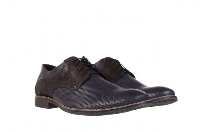 Półbuty bayla-051 166l bufallo niebieski fl. czarny, skóra naturalna  - obuwie wizytowe - buty męskie - mężczyzna 1