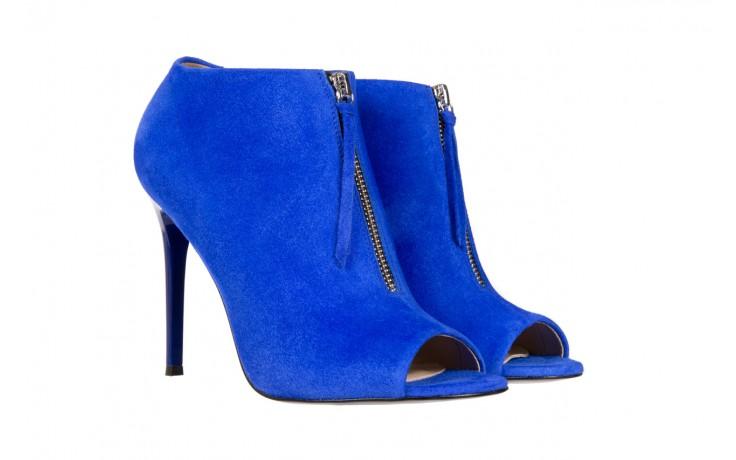 Botki bayla-056 2074-601 niebieski, skóra naturalna  - peep toe - szpilki - buty damskie - kobieta 1