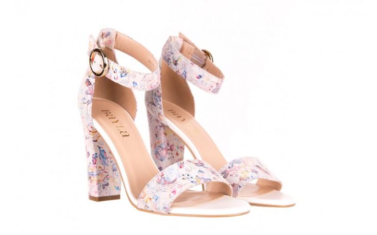 Sandały bayla-056 8024-1292 białe sandały w kwiaty, skóra naturalna  - bayla - nasze marki 1