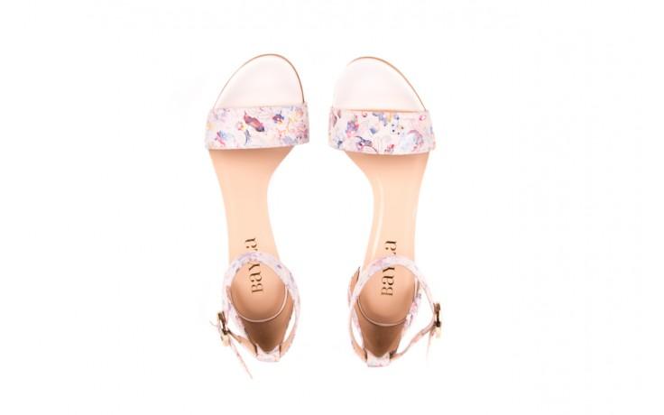Sandały bayla-056 8024-1292 białe sandały w kwiaty, skóra naturalna  - bayla - nasze marki 3