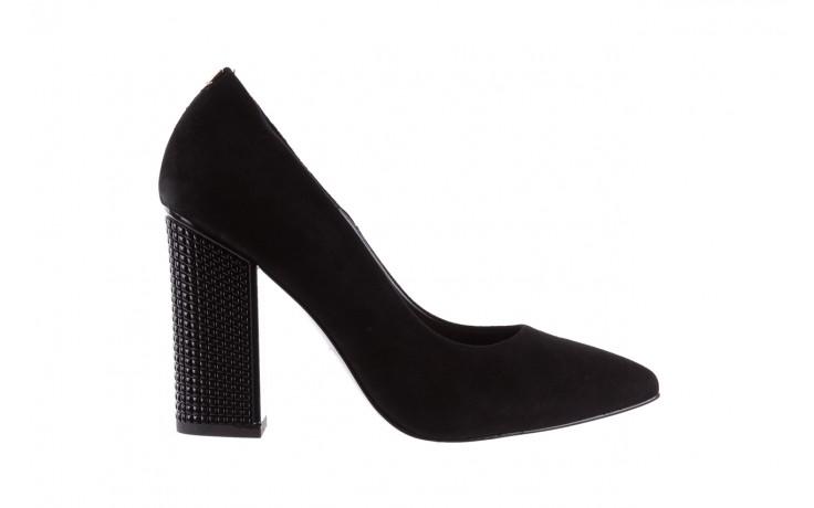 Czółenka bayla-056 8051-21 czarne czółenka z bieżnikowym obcasem, skóra naturalna  - na słupku - czółenka - buty damskie - kobieta