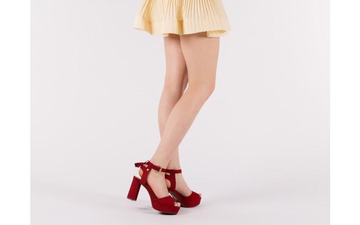 Sandały bayla-067 129006 nobuck red velvet, czerwony, skóra naturalna  - bayla - nasze marki 6