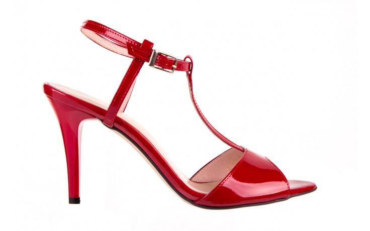 Sandały bayla-097 07 czerwone sandały, skóra naturalna