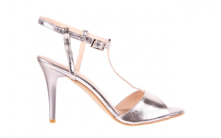 Sandały bayla-097 07 srebrne sandały, skóra naturalna