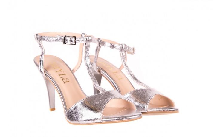 Sandały bayla-097 07 srebrne sandały, skóra naturalna 1