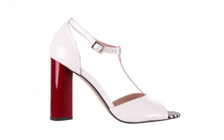 Sandały bayla-097 08 biało-czerwone sandały, skóra naturalna lakierowana  - kolekcja ślubna - trendy - kobieta