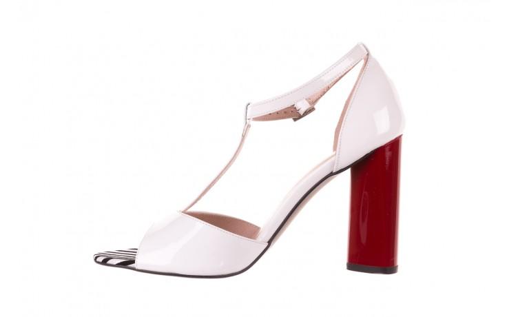 Sandały bayla-097 08 biało-czerwone sandały, skóra naturalna lakierowana  - kolekcja ślubna - trendy - kobieta 2