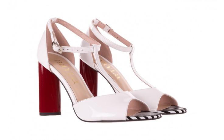 Sandały bayla-097 08 biało-czerwone sandały, skóra naturalna lakierowana  - kolekcja ślubna - trendy - kobieta 1