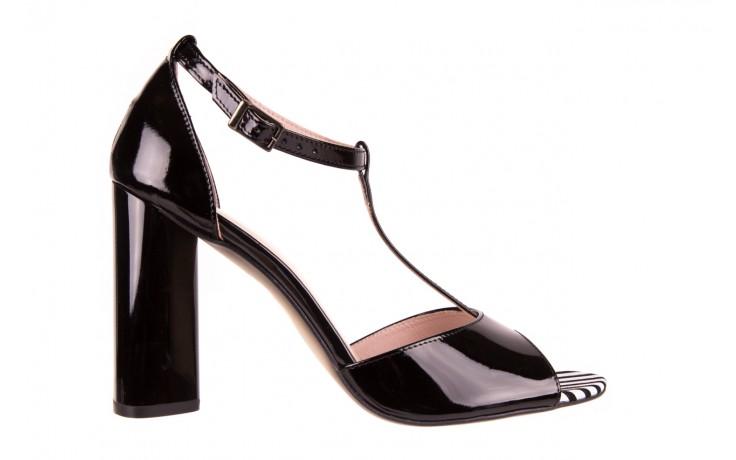 Sandały bayla-097 08 czarno - białe sandały, skóra naturalna lakierowana  - bayla - nasze marki