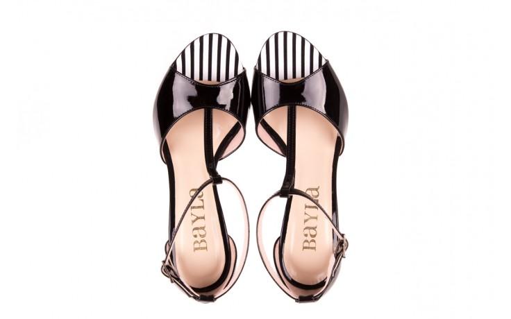 Sandały bayla-097 08 czarno - białe sandały, skóra naturalna lakierowana  - bayla - nasze marki 4