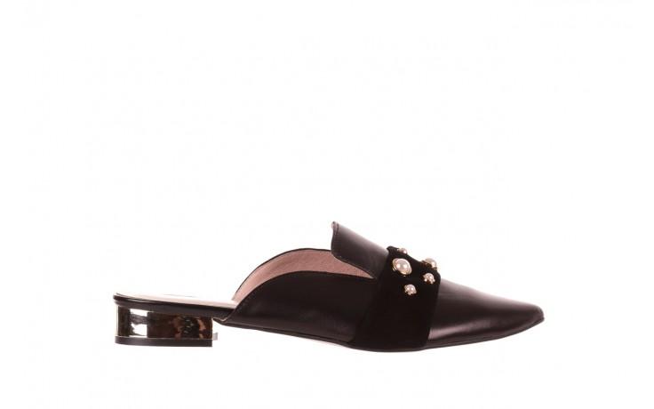 Klapki bayla-097 10 czarne klapki z perłami, skóra naturalna  - mokasyny i lordsy - półbuty - buty damskie - kobieta