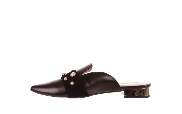 Klapki bayla-097 10 czarne klapki z perłami, skóra naturalna  - mokasyny i lordsy - półbuty - buty damskie - kobieta 2