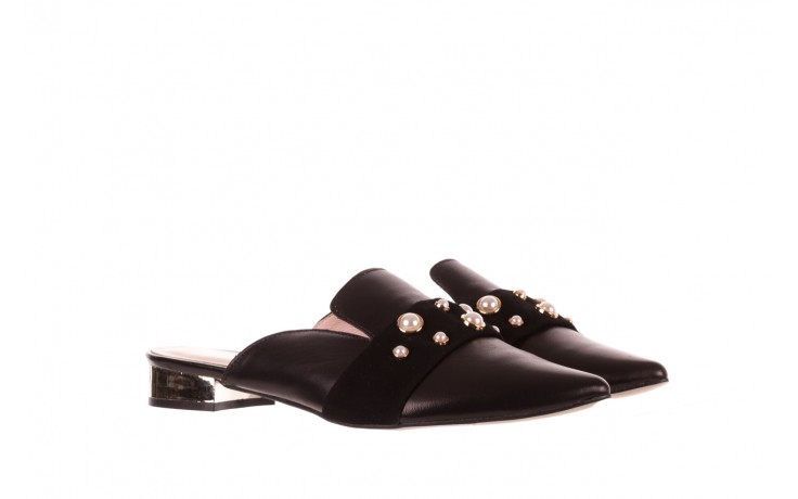 Klapki bayla-097 10 czarne klapki z perłami, skóra naturalna  - bayla - nasze marki 1