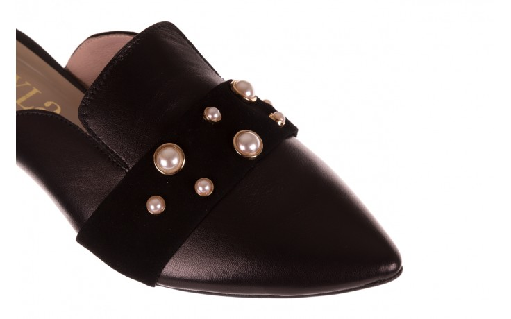 Klapki bayla-097 10 czarne klapki z perłami, skóra naturalna  - mokasyny i lordsy - półbuty - buty damskie - kobieta 5