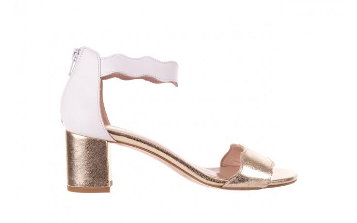 Sandały bayla-097 12 biało-złote sandały, skora naturalna  - kolekcja ślubna - trendy - kobieta