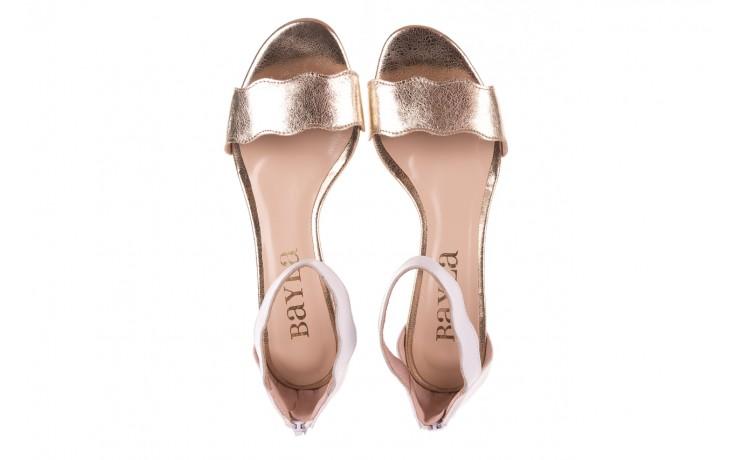 Sandały bayla-097 12 biało-złote sandały, skora naturalna  - kolekcja ślubna - trendy - kobieta 4