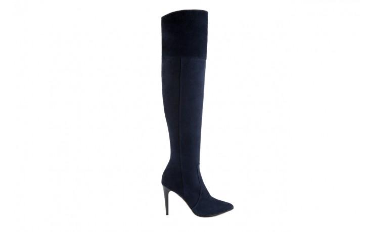 Kozaki bayla-097 w2418-221 granat, skóra naturalna - za kolano / muszkieterki - kozaki - buty damskie - kobieta