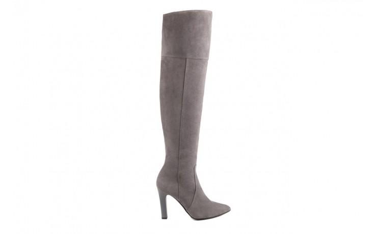 Kozaki bayla-097 w2418-494 szary, skóra naturalna - za kolano / muszkieterki - kozaki - buty damskie - kobieta