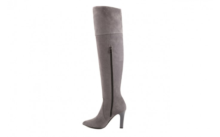 Kozaki bayla-097 w2418-494 szary, skóra naturalna - za kolano / muszkieterki - kozaki - buty damskie - kobieta 2
