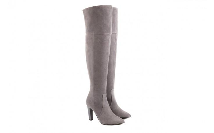 Kozaki bayla-097 w2418-494 szary, skóra naturalna - za kolano / muszkieterki - kozaki - buty damskie - kobieta 1