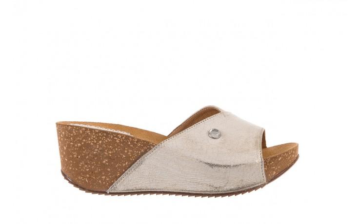 Klapki bayla-099 0795 dave platyna, skóra naturalna  - na koturnie - klapki - buty damskie - kobieta