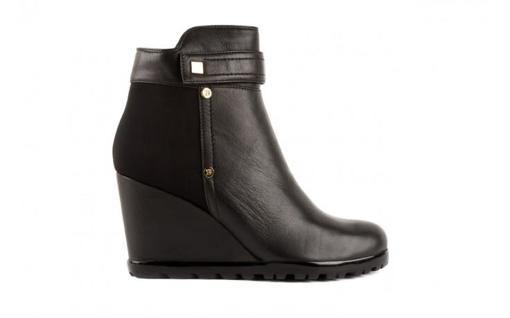 Botki bayla-106 321108 black, czarny, skóra naturalna/materiał - na koturnie - botki - buty damskie - kobieta