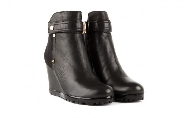 Botki bayla-106 321108 black, czarny, skóra naturalna/materiał - na koturnie - botki - buty damskie - kobieta 1