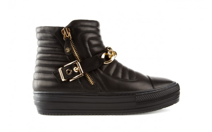 Trampki bayla-106 4208004 black, czarny, skóra naturalna - na platformie - botki - buty damskie - kobieta