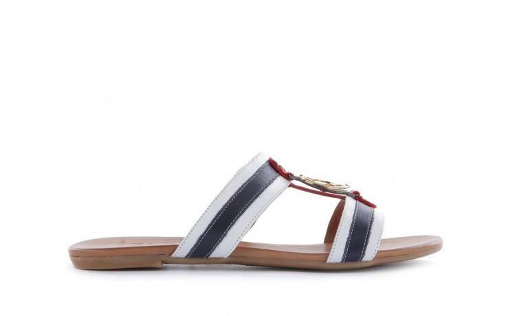 Klapki bayla-112 243-460 by byz laci krmz - white navy red 16, biały/niebieski/czerwony, skóra naturalna - bayla - nasze marki