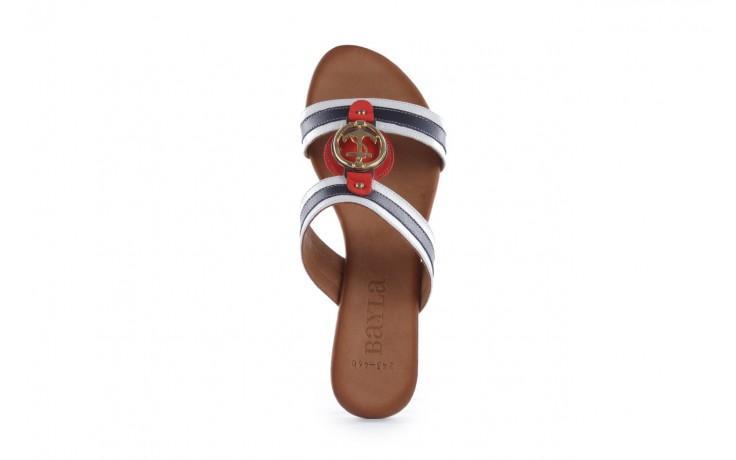 Klapki bayla-112 243-460 by byz laci krmz - white navy red 16, biały/niebieski/czerwony, skóra naturalna - bayla - nasze marki 4