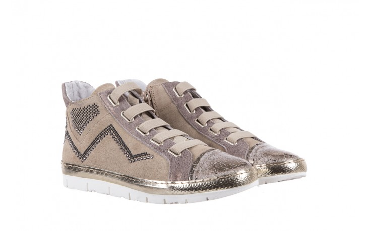 Trampki bayla-131 1304 sand, róż/złoty, skóra naturalna  - skórzane - trampki - buty damskie - kobieta 1