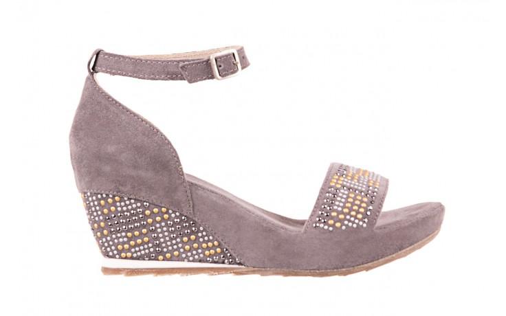 Sandały bayla-131 2701 grigio, szary, skóra naturalna  - koturny - dla niej  - sale